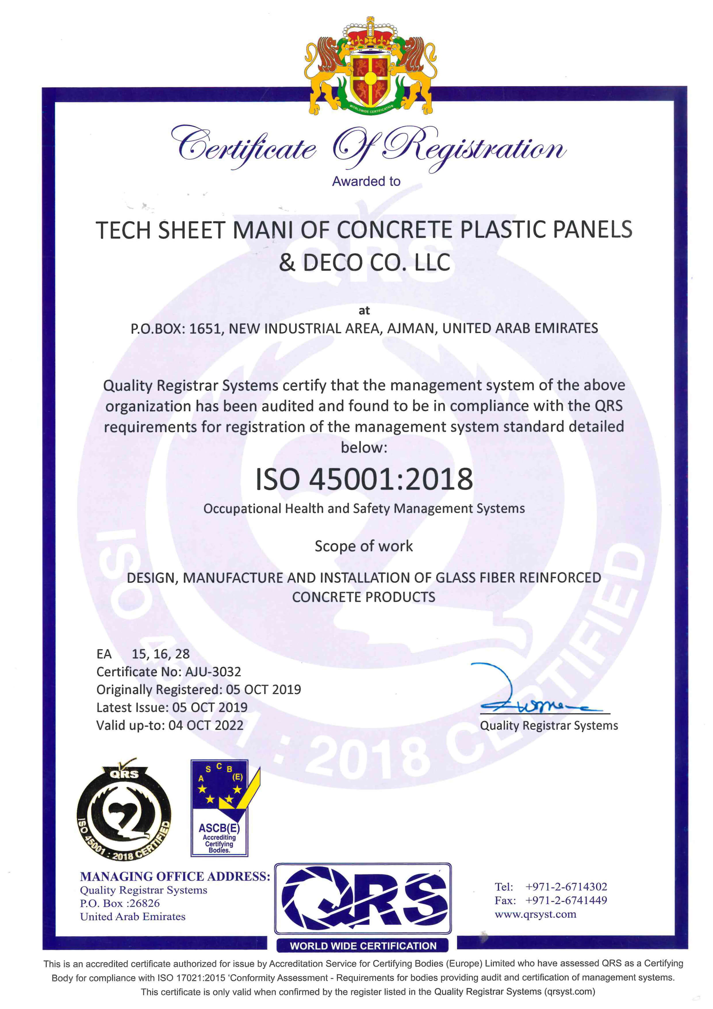 Speed House Group GRC ISO 45001 Certificate