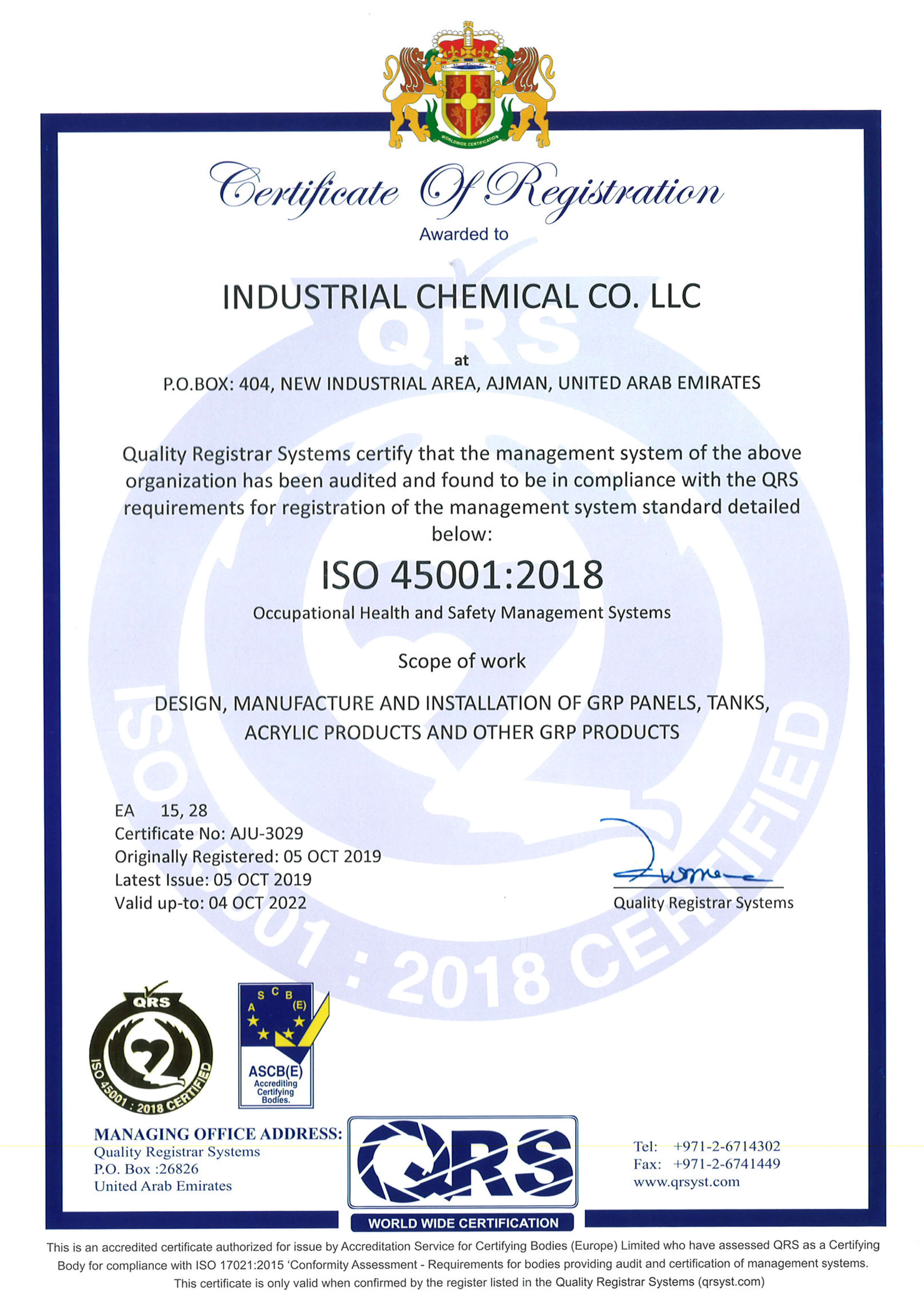 Speed House Group GRP ISO 45001 Certificate