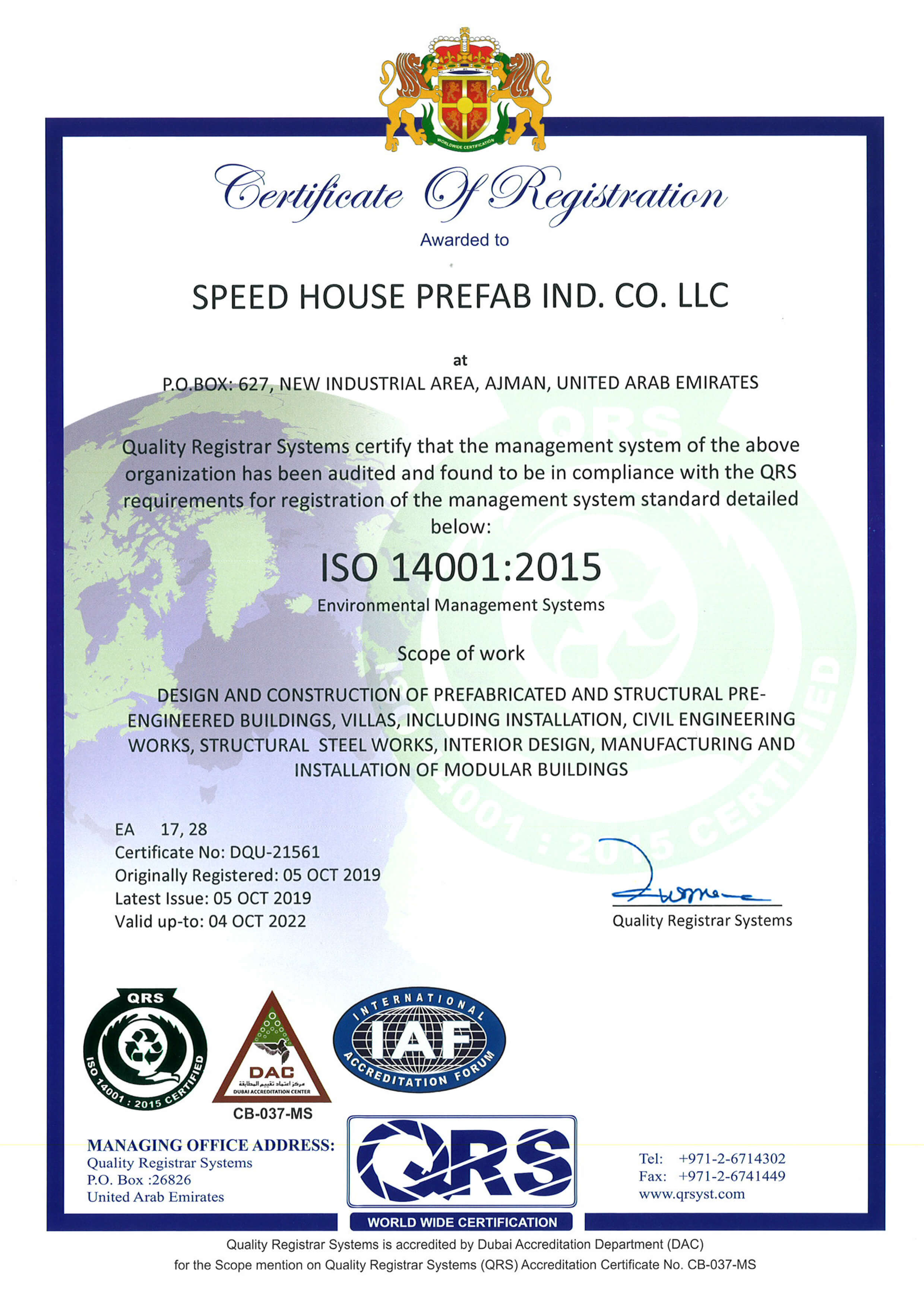 Speed House Group Prefab ISO 14001 Certificate