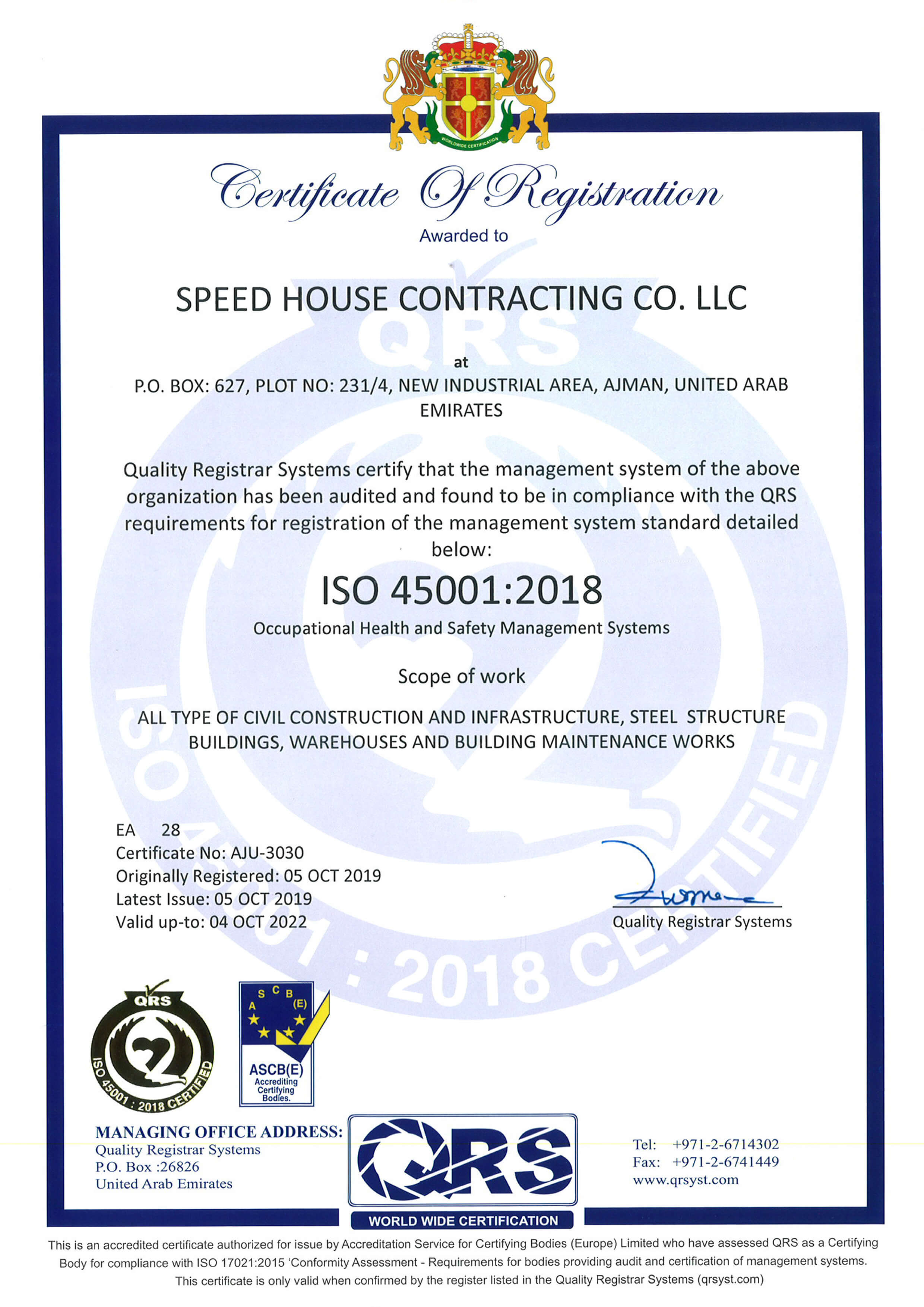 Speed House Group Prefab ISO 45001 Certificate