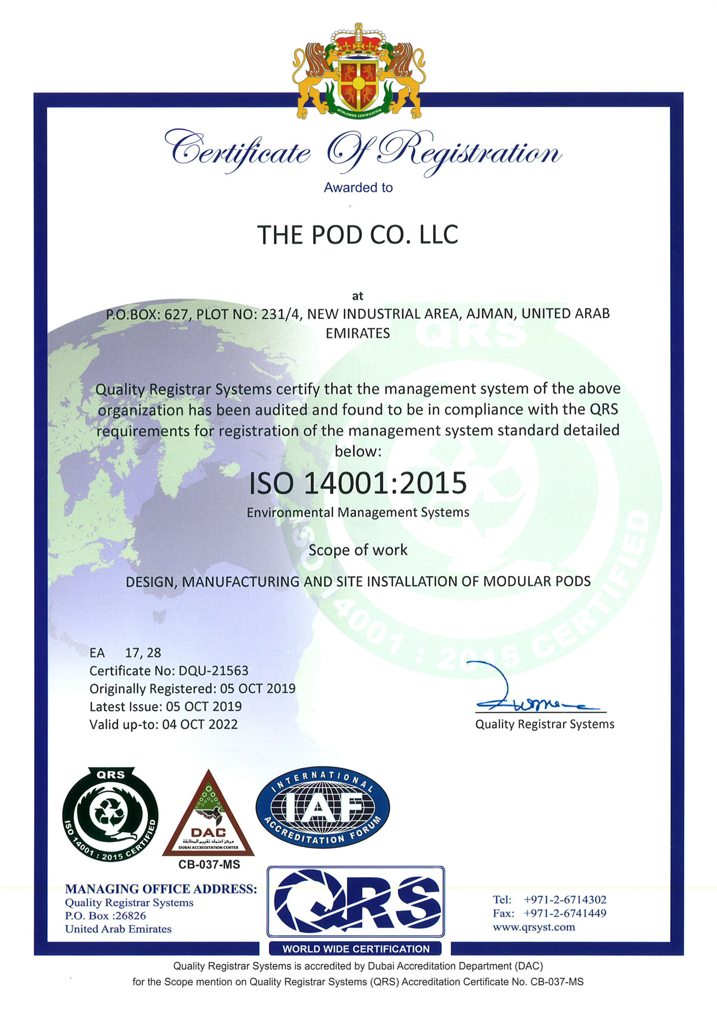 Speed House Group Pod ISO 14001 Certificate
