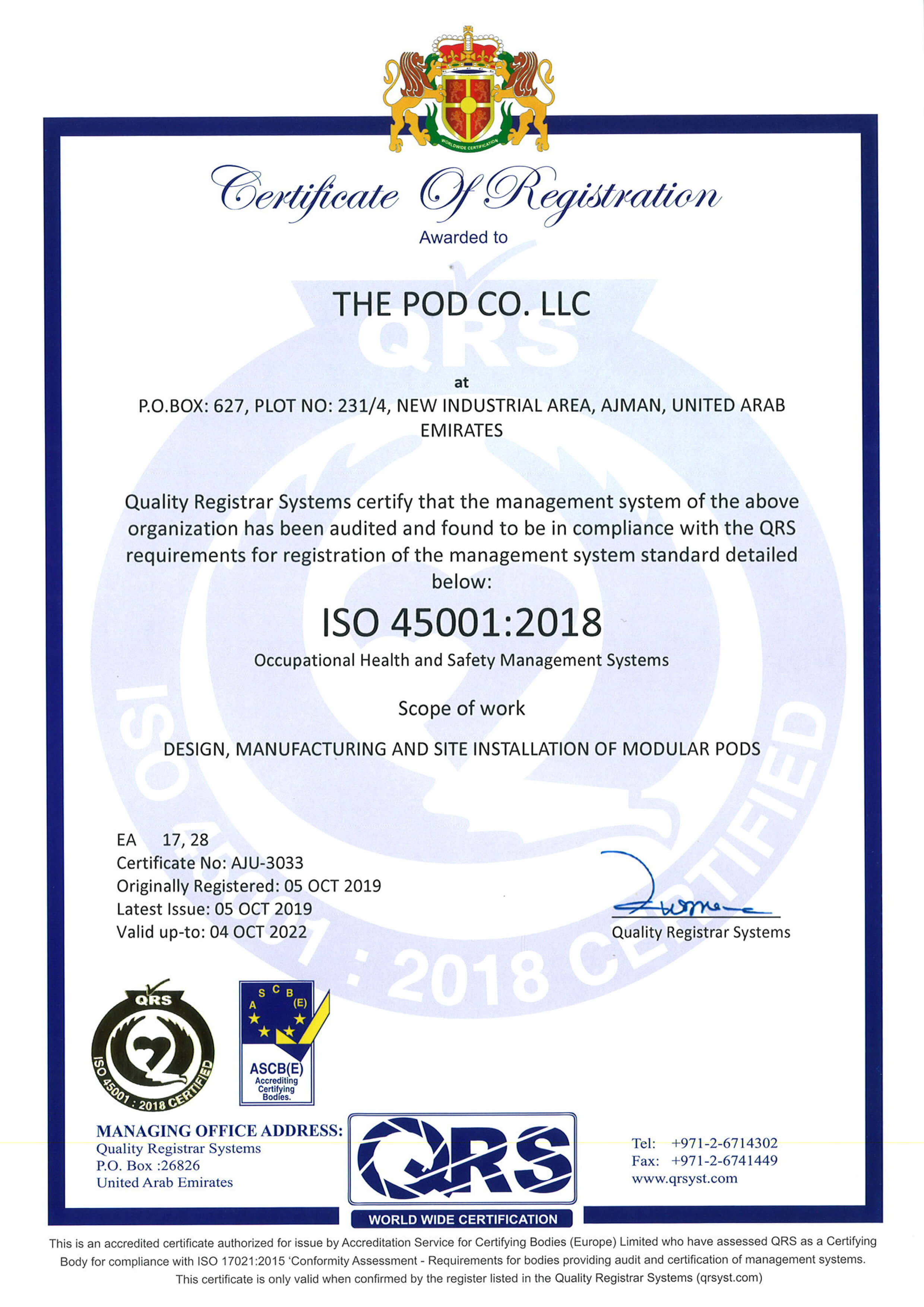Speed House Group Pod ISO 45001 Certificate