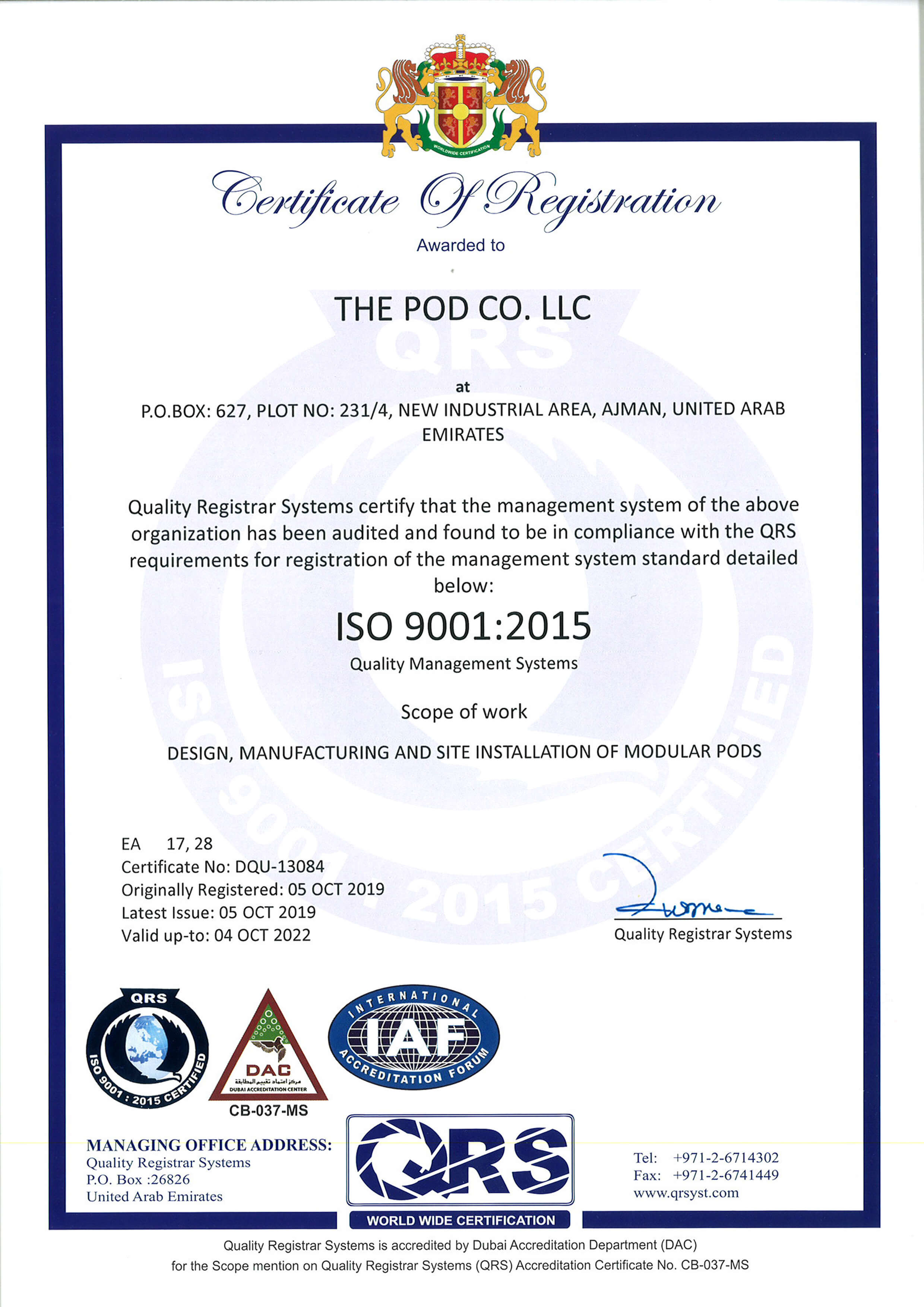 Speed House Group Pod ISO 9001 Certificate